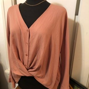 Pretty in pink twist front blouse